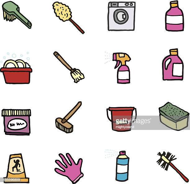 Cleaning and domestic doodle icons