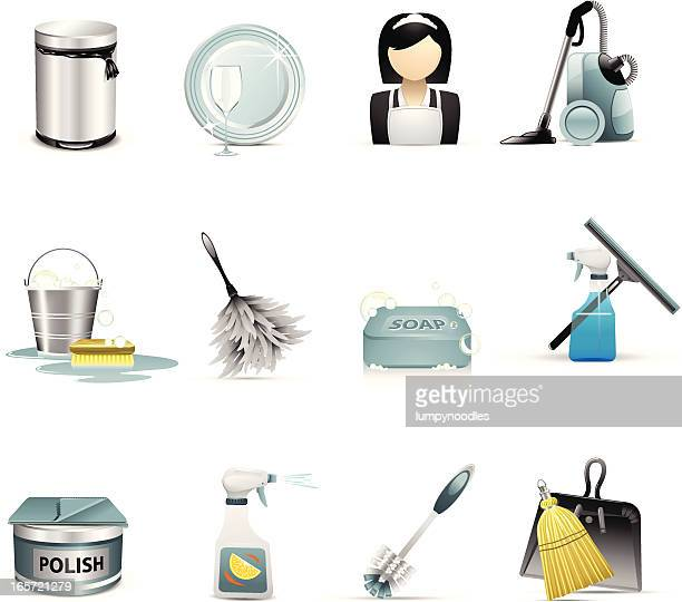 cleaning and housekeeping icons - toilet brush stock illustrations, clip art, cartoons, & icons