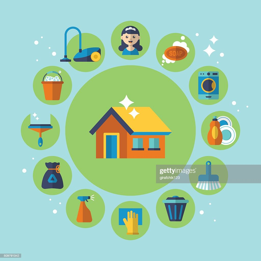 Cleaning and housekeeping services icons for web and graphic design