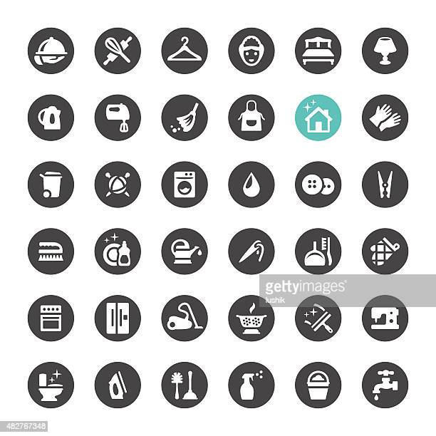 cleaning and housework vector icons - iron appliance stock illustrations, clip art, cartoons, & icons