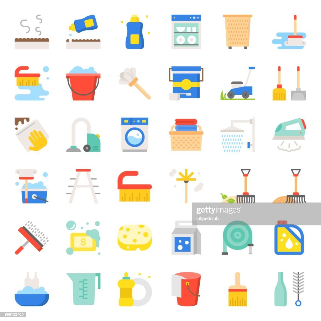 Cleaning and laundry service and equipment, flat  design icon set