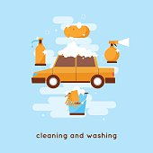 Cleaning and washing car.