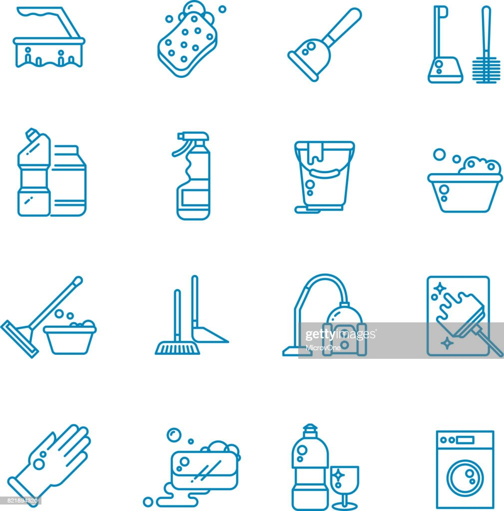 Cleaning and washing house outline vector icons. Antiseptic service line symbols