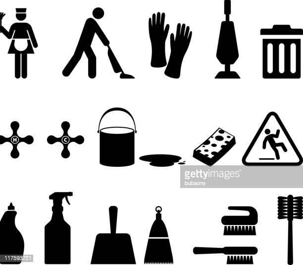 cleaning black & white royalty free vector icon set