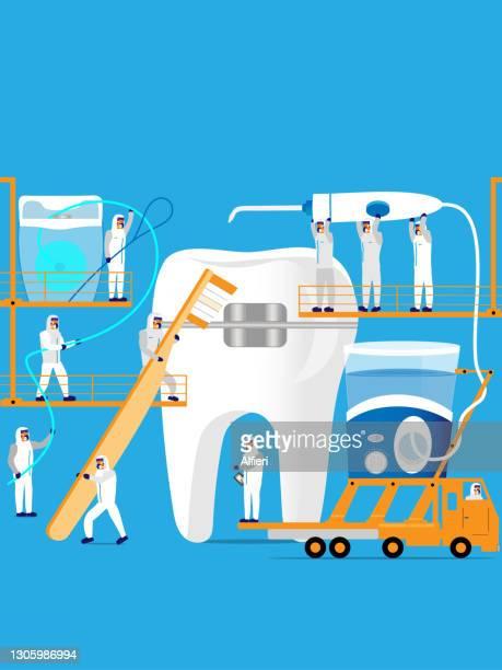 ブレースのクリーニング - 歯科衛生士点のイラスト素材/クリップアート素材/マンガ素材/アイコン素材