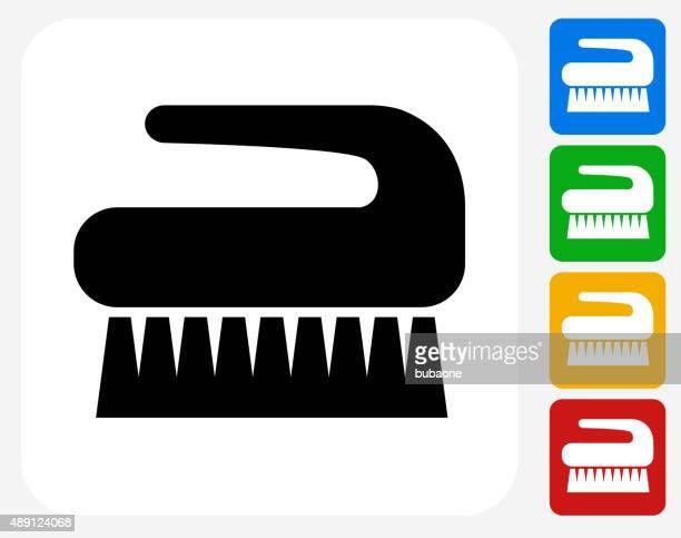クリーニングブラシアイコンフラットはグラフィックデザイン - ゴシゴシ洗う点のイラスト素材/クリップアート素材/マンガ素材/アイコン素材