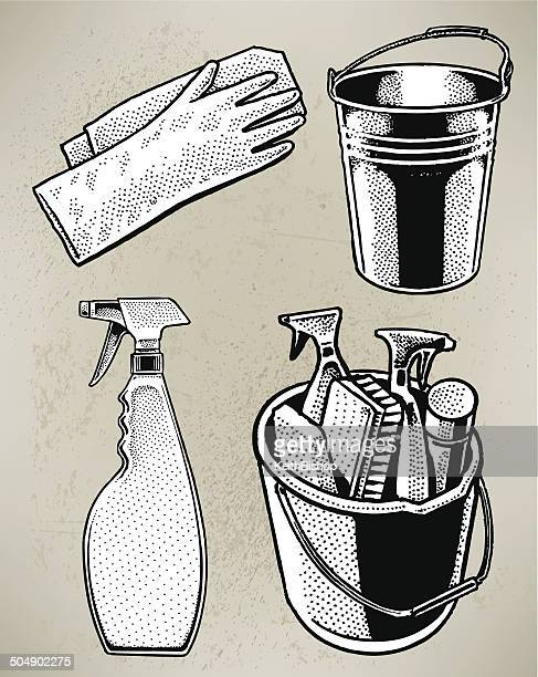 cleaning bucket & gloves - washing up glove stock illustrations, clip art, cartoons, & icons