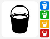 Cleaning Bucket Icon Flat Graphic Design