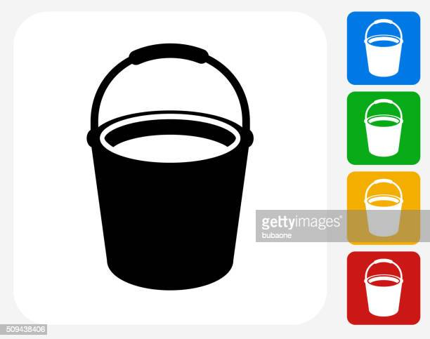 illustrations, cliparts, dessins animés et icônes de seau de nettoyage icônes graphiques plates - seau