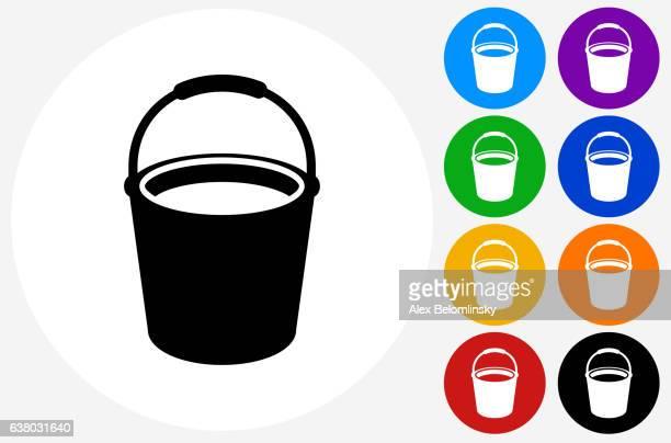 illustrations, cliparts, dessins animés et icônes de cleaning bucket icon on flat color circle buttons - seau