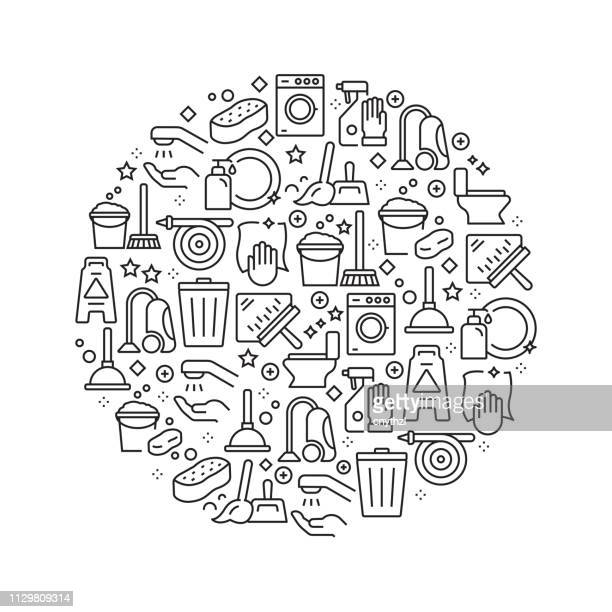 cleaning concept - black and white line icons, arranged in circle - bathroom stock illustrations, clip art, cartoons, & icons