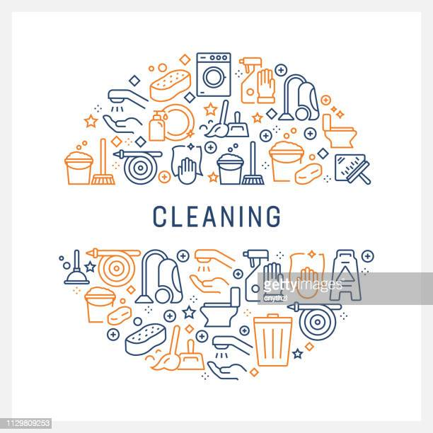 cleaning concept - colorful line icons, arranged in circle - housework stock illustrations, clip art, cartoons, & icons
