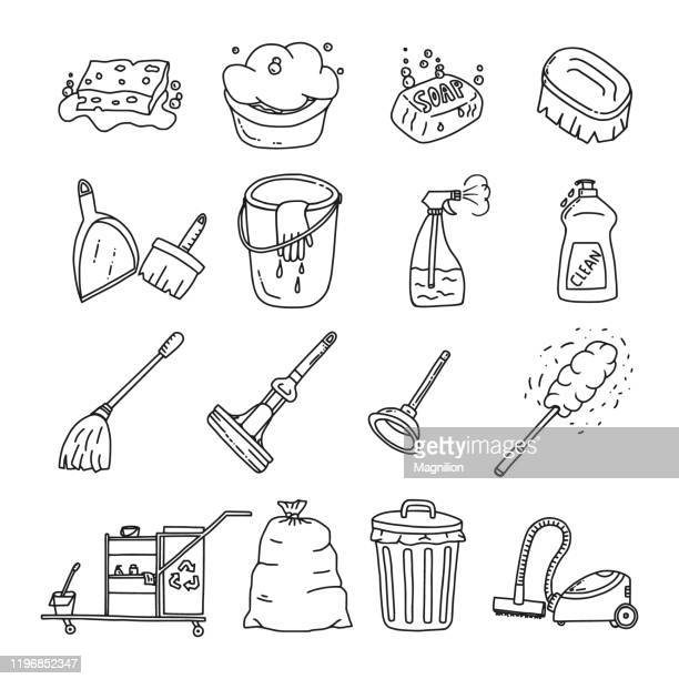 cleaning doodles set - housework stock illustrations