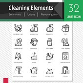 Cleaning elements vector icons set on white background.
