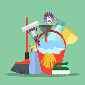 Cleaning equipment. Cleaning service concept. Poster template for house cleaning services with various cleaning tools. Flat vector illustration