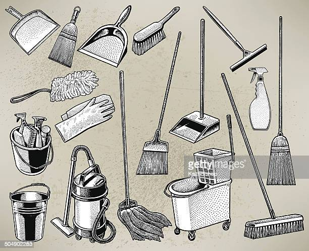 cleaning equipment - mop, broom, bucket, spray bottle - dustpan stock illustrations, clip art, cartoons, & icons