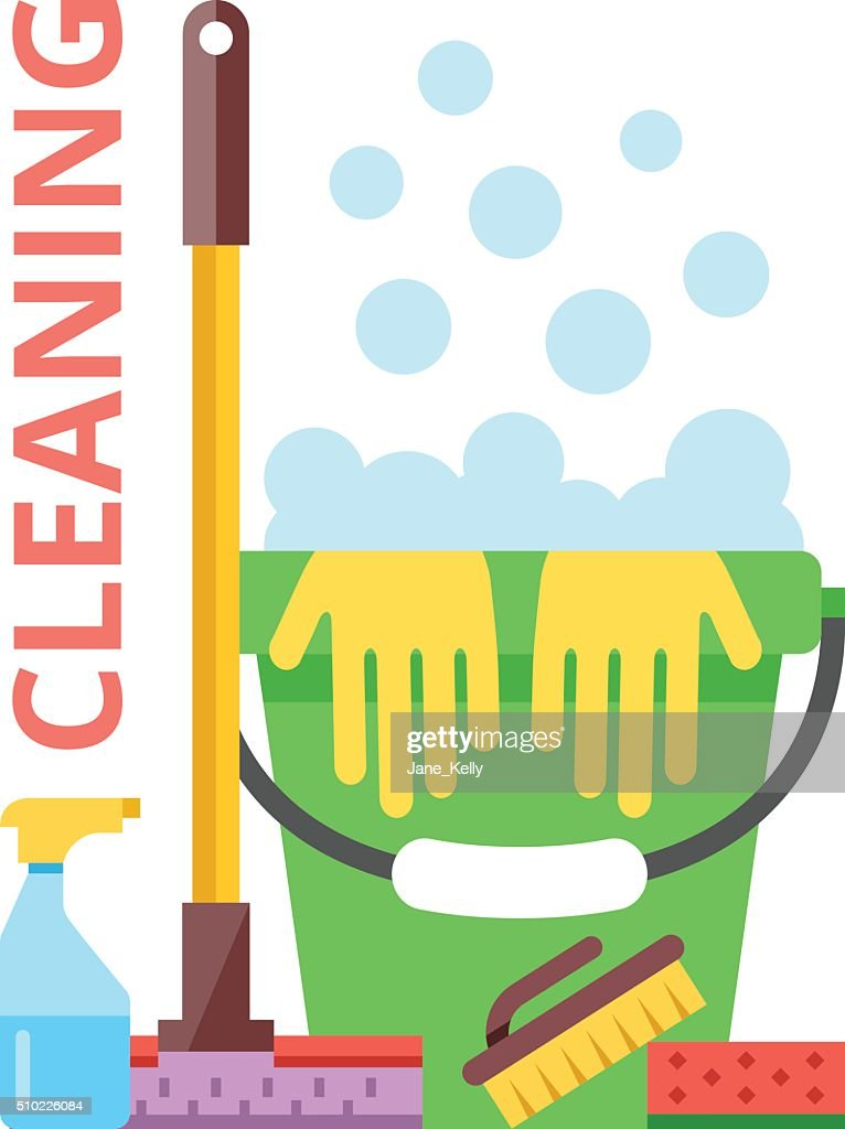 Cleaning flat illustration. Spring cleaning and cleaning service concept