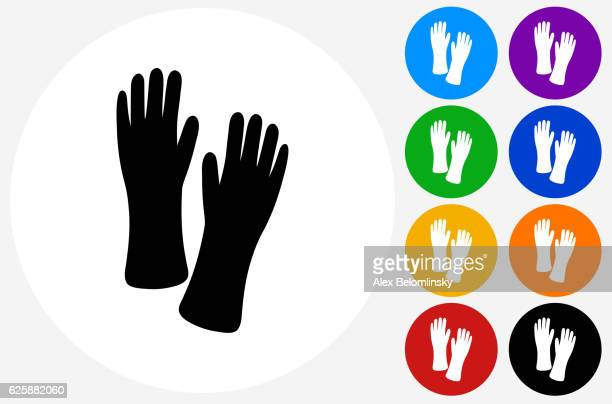 cleaning gloves icon on flat color circle buttons - washing up glove stock illustrations, clip art, cartoons, & icons