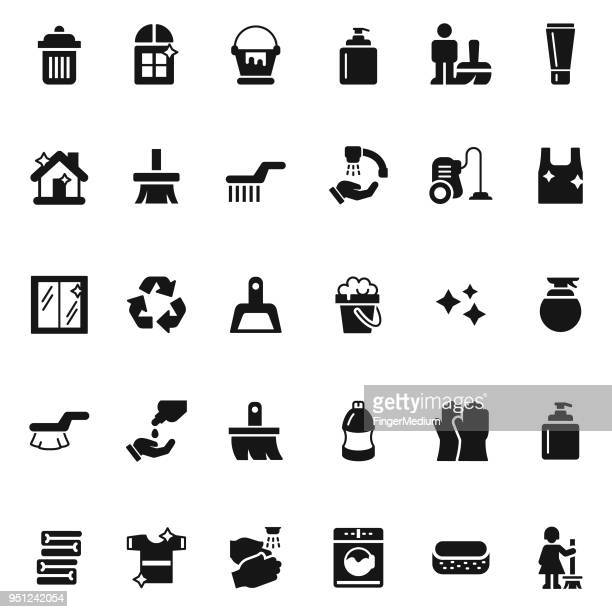 cleaning icon set - dustpan stock illustrations, clip art, cartoons, & icons
