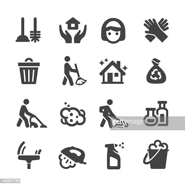 cleaning icons - acme series - dustpan stock illustrations, clip art, cartoons, & icons