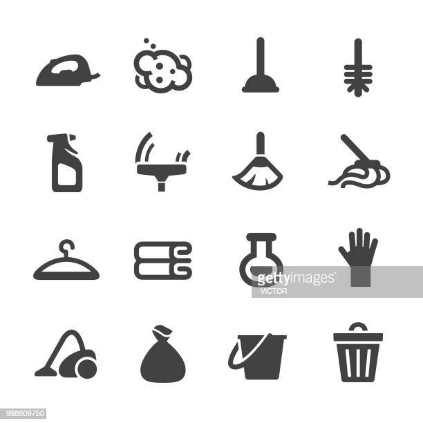 cleaning icons - acme series - scrubbing stock illustrations, clip art, cartoons, & icons