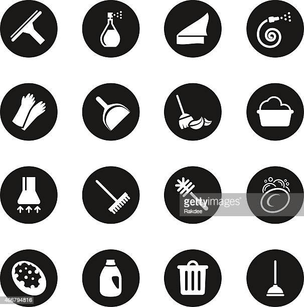 cleaning icons - black circle series - dustpan stock illustrations, clip art, cartoons, & icons