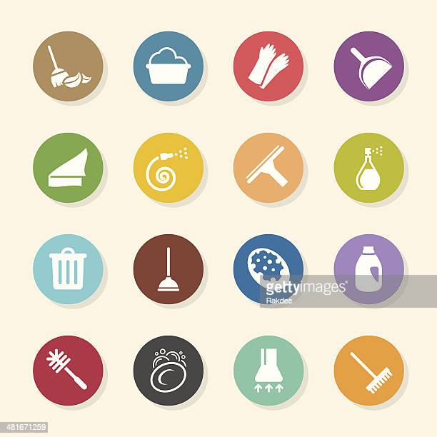 cleaning icons - color circle series - toilet brush stock illustrations, clip art, cartoons, & icons
