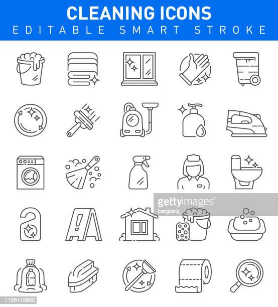 cleaning icons. editable stroke collection - housework stock illustrations