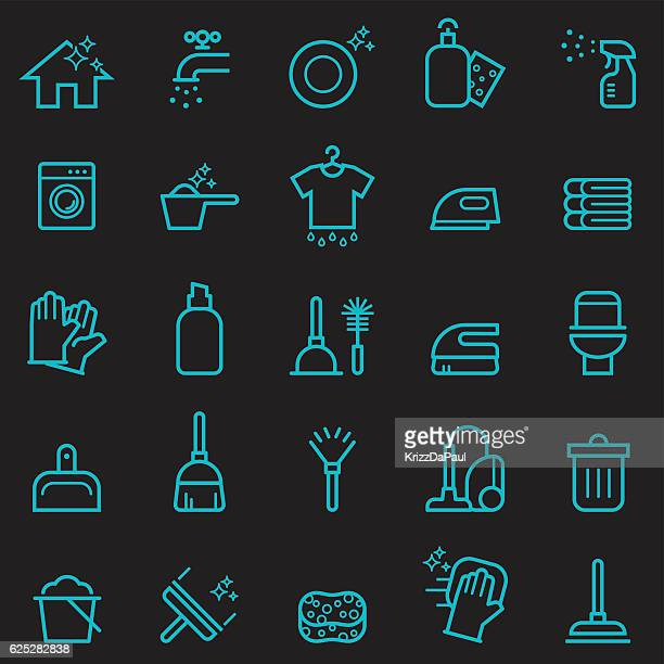 cleaning icons [glow in the dark] - plunger stock illustrations, clip art, cartoons, & icons