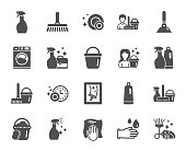 Cleaning icons. Laundry, Sponge and Vacuum. Vector