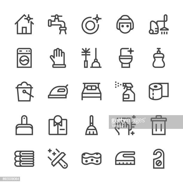 cleaning icons - mediumx line - dustpan stock illustrations, clip art, cartoons, & icons