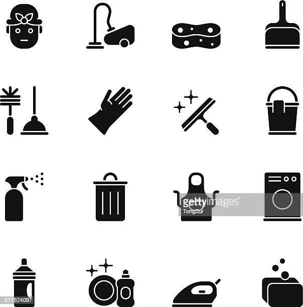 定期清掃のアイコン-黒 - ゴシゴシ洗う点のイラスト素材/クリップアート素材/マンガ素材/アイコン素材
