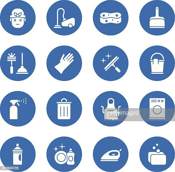 cleaning icons - regular - circle - toilet brush stock illustrations, clip art, cartoons, & icons