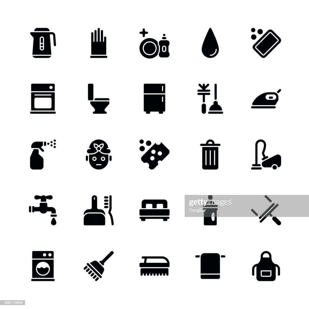 Cleaning icons - Regular Glyph : stock illustration