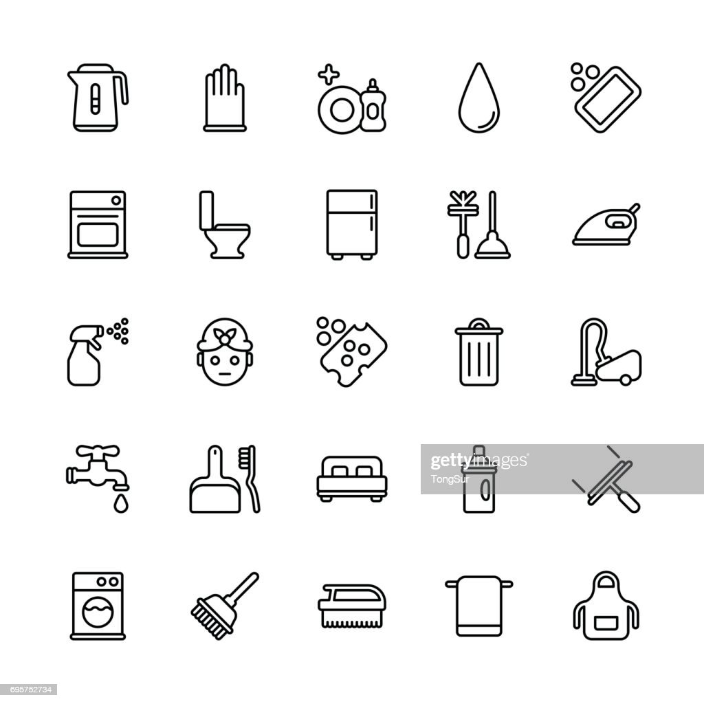 Cleaning icons - Regular Line : stock illustration