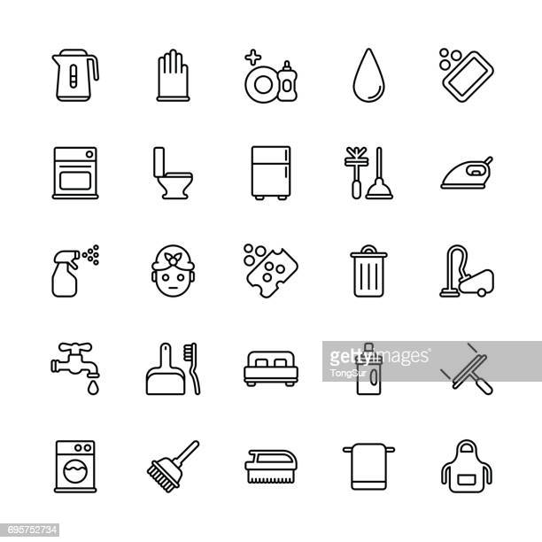 cleaning icons - regular line - toilet brush stock illustrations, clip art, cartoons, & icons
