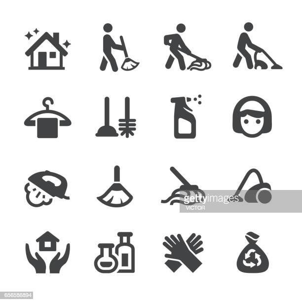 cleaning icons set - acme series - plunger stock illustrations, clip art, cartoons, & icons