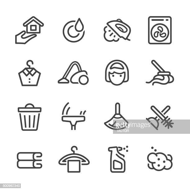 cleaning icons set - line series - toilet brush stock illustrations, clip art, cartoons, & icons