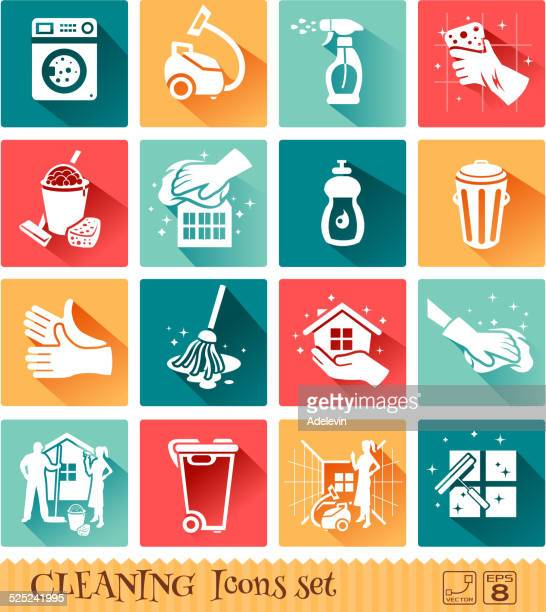 cleaning icons set - washing up glove stock illustrations, clip art, cartoons, & icons