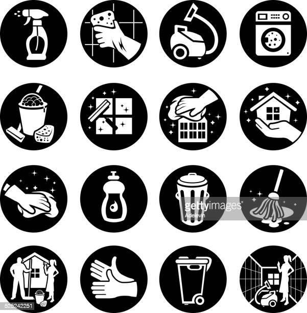 ilustrações, clipart, desenhos animados e ícones de conjunto de ícones de limpeza - vestuário de proteção