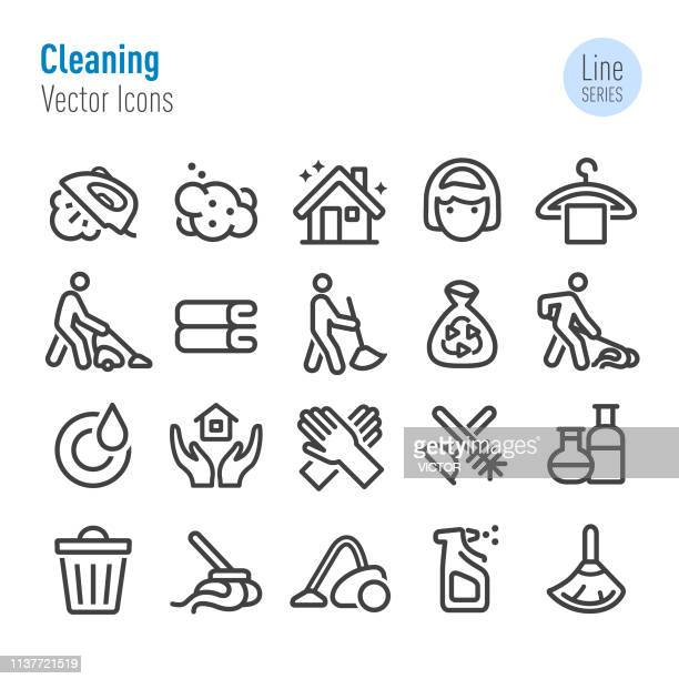 cleaning icons set - vector line series - scrubbing stock illustrations, clip art, cartoons, & icons