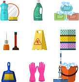 Cleaning icons set with mop soap and gloves