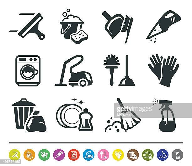 cleaning icons | siprocon collection - toilet brush stock illustrations, clip art, cartoons, & icons