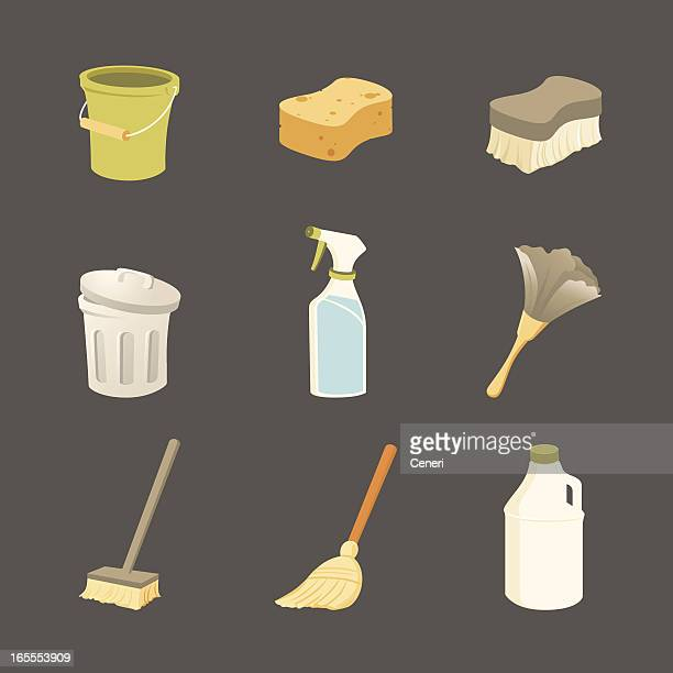 cleaning icons - broom stock illustrations, clip art, cartoons, & icons