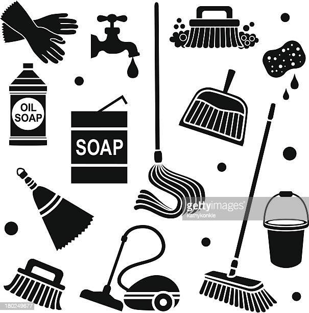 cleaning icons - dustpan stock illustrations, clip art, cartoons, & icons