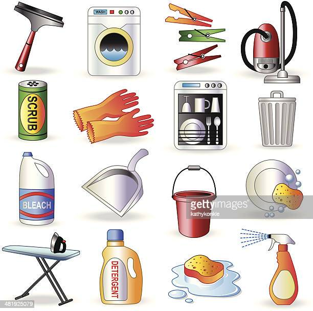 cleaning icons - washing dishes stock illustrations, clip art, cartoons, & icons