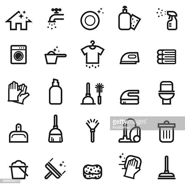 cleaning icons - housework stock illustrations, clip art, cartoons, & icons