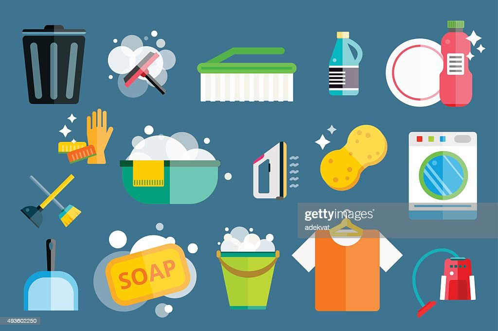 Cleaning icons vector set clean service