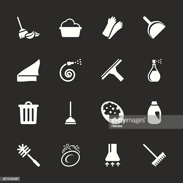 cleaning icons - white series | eps10 - washing up glove stock illustrations, clip art, cartoons, & icons
