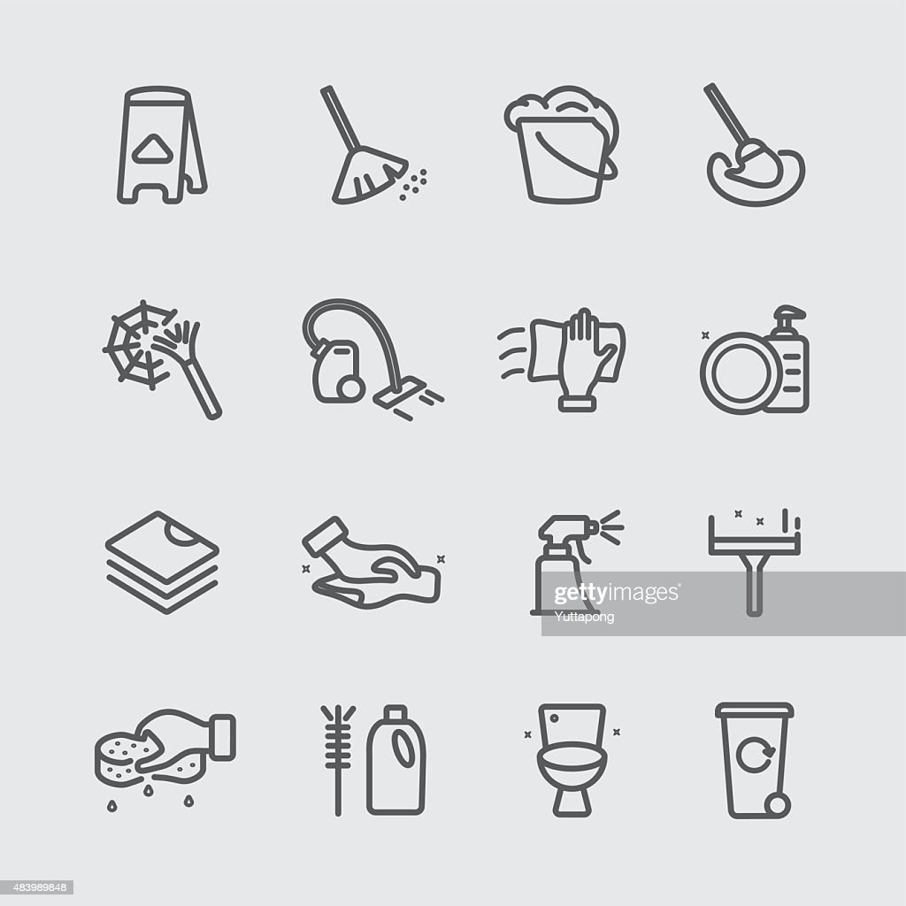 Cleaning in house line icon